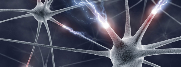 Neurons in the brain passing energy over dendrites and synapses.