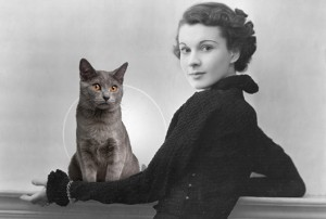 Vivien Leigh with enchanting cat.