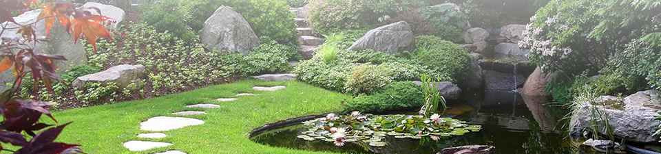 An inviting Japanese garden with winding walkway.