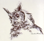 Sketch of a great horned owl by Pamela Moore, Tess For Pets Animal Reiki Master/Teacher