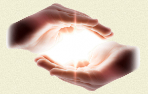 Reiki hands with Light.