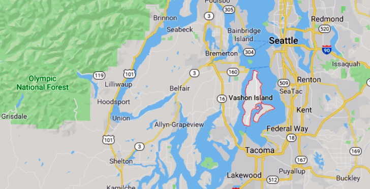 Map of Vashon, Washington location